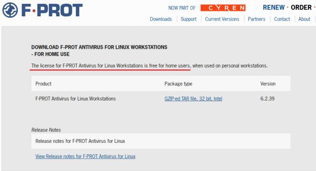 Пользователям linux F-Prot бесплатен